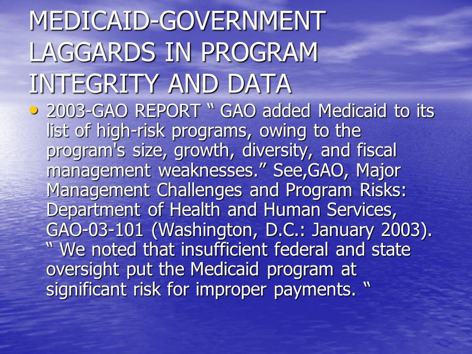 2006 DEFICIT REDUCTION ACT CMS-SIGNIFICANT MEDICAID FUNDS AND STAFF CMS-SIGNIFICANT MEDICAID FUNDS AND STAFF STATES-SUPPORT AND OVERSIGHT STATES-SUPPORT AND OVERSIGHT CONTRACTORS-FOR AUDITS, EVALUATION, INVESTIGATIONS CONTRACTORS-FOR AUDITS, EVALUATION, INVESTIGATIONS DATA MINING GROUP AT CMS-ALGORITHM DEVELOPMENT DATA MINING GROUP AT CMS-ALGORITHM DEVELOPMENT MOVE FOCUS FROM LAW ENFORCEMENT (OIG) TO PROGRAM AGENCY MOVE FOCUS FROM LAW ENFORCEMENT (OIG) TO PROGRAM AGENCY