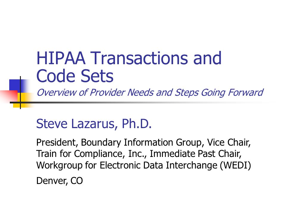 HIPAA Transactions and Code Sets Overview of Provider Needs and Steps Going Forward Steve Lazarus, Ph.D. President, Boundary Information Group, Vice C
