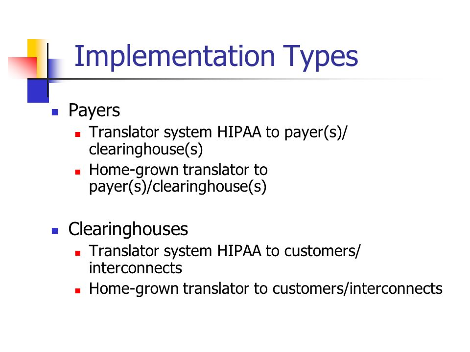 Payers Translator system HIPAA to payer(s)/ clearinghouse(s) Home-grown translator to payer(s)/clearinghouse(s) Clearinghouses Translator system HIPAA