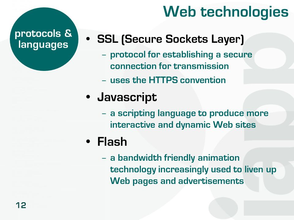 12 Web technologies SSL (Secure Sockets Layer) – protocol for establishing a secure connection for transmission – uses the HTTPS convention Javascript