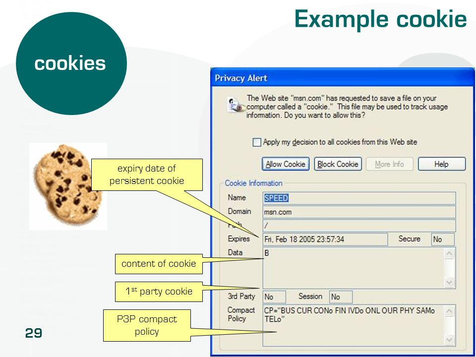 29 Example cookie cookies content of cookie 1 st party cookie P3P compact policy expiry date of persistent cookie