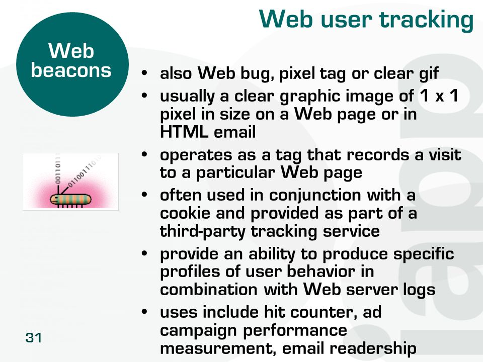 31 Web user tracking also Web bug, pixel tag or clear gif usually a clear graphic image of 1 x 1 pixel in size on a Web page or in HTML email operates