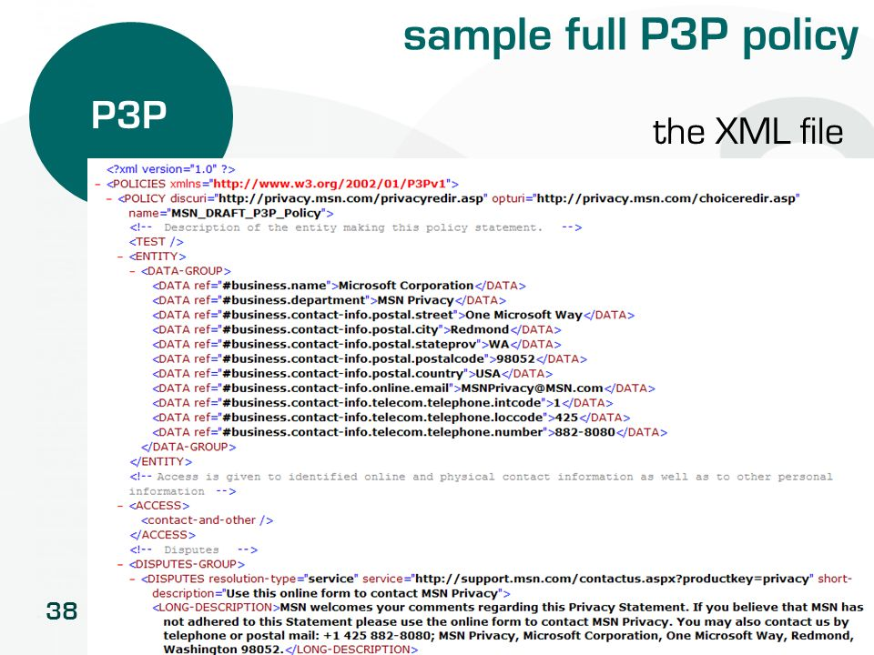 38 sample full P3P policy P3P the XML file