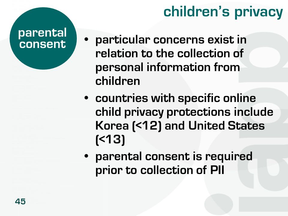 45 childrens privacy particular concerns exist in relation to the collection of personal information from children countries with specific online chil