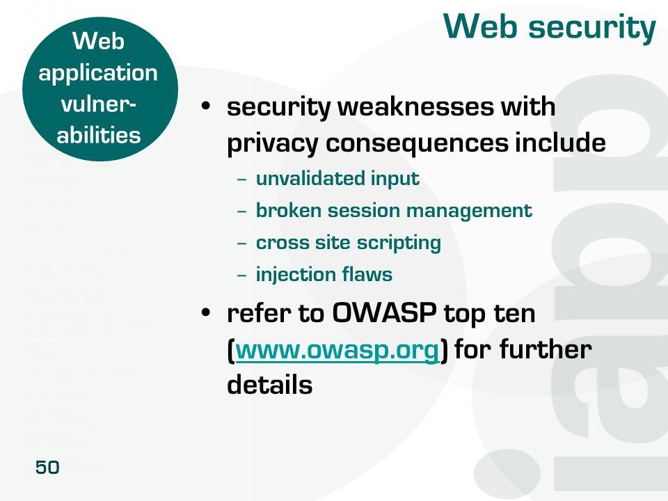 50 Web security security weaknesses with privacy consequences include – unvalidated input – broken session management – cross site scripting – injecti
