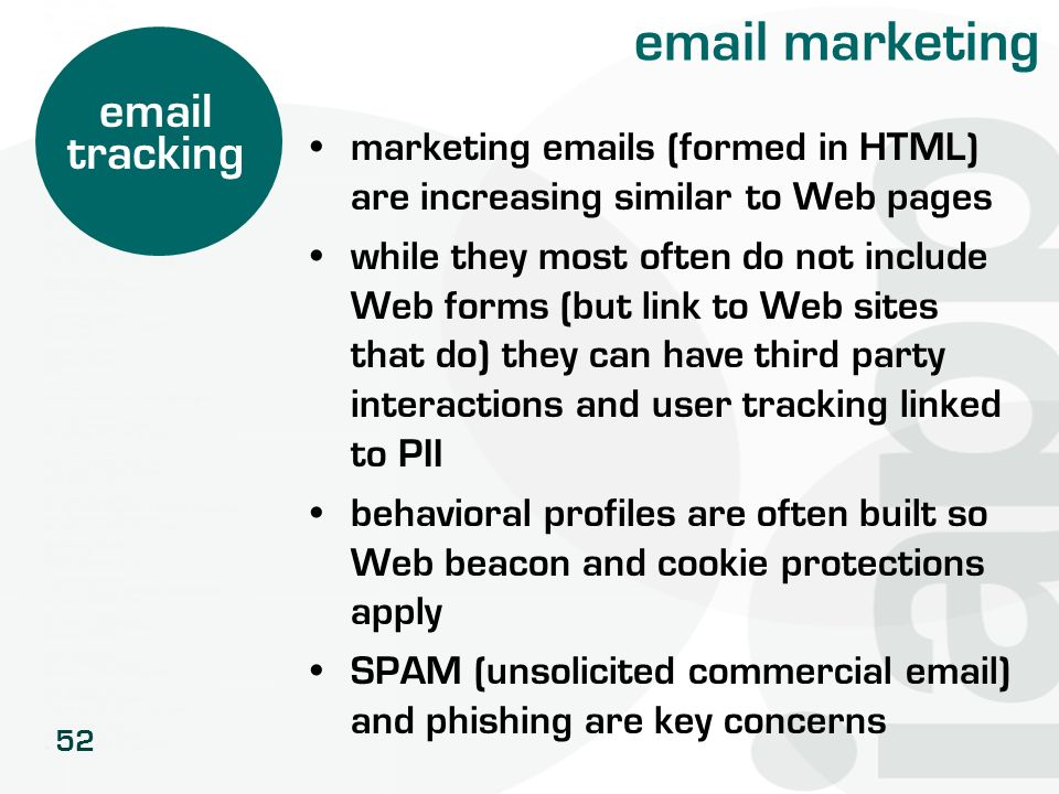 52 email marketing marketing emails (formed in HTML) are increasing similar to Web pages while they most often do not include Web forms (but link to W