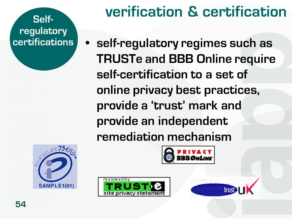 54 verification & certification self-regulatory regimes such as TRUSTe and BBB Online require self-certification to a set of online privacy best pract