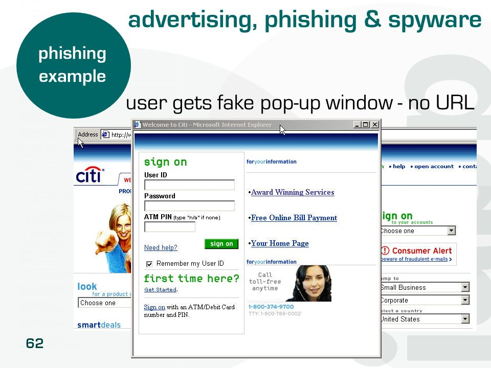 62 phishing example user gets fake pop-up window - no URL advertising, phishing & spyware
