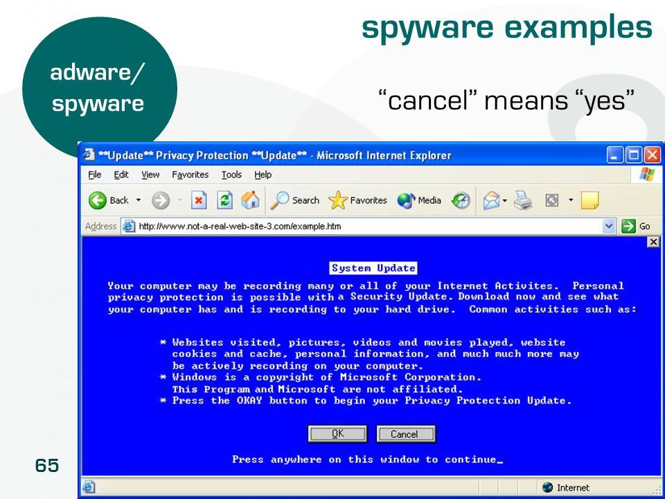65 spyware examples adware/ spyware cancel means yes