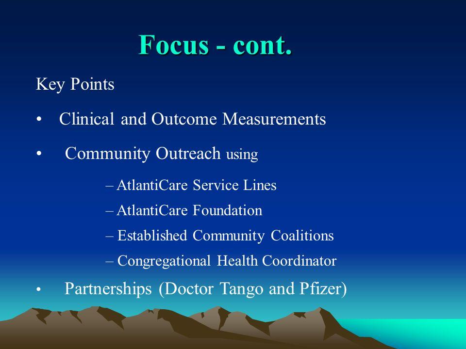 Focus - cont. Key Points Clinical and Outcome Measurements Community Outreach using – AtlantiCare Service Lines – AtlantiCare Foundation – Established