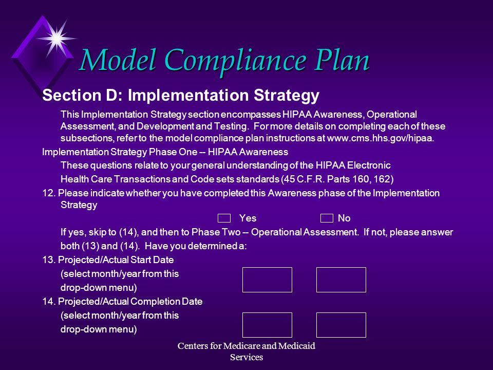 Centers for Medicare and Medicaid Services Model Compliance Plan Section D: Implementation Strategy This Implementation Strategy section encompasses H