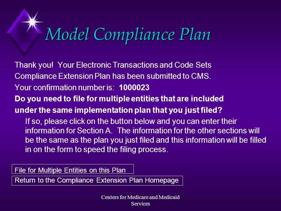 Centers for Medicare and Medicaid Services Model Compliance Plan Thank you! Your Electronic Transactions and Code Sets Compliance Extension Plan has b