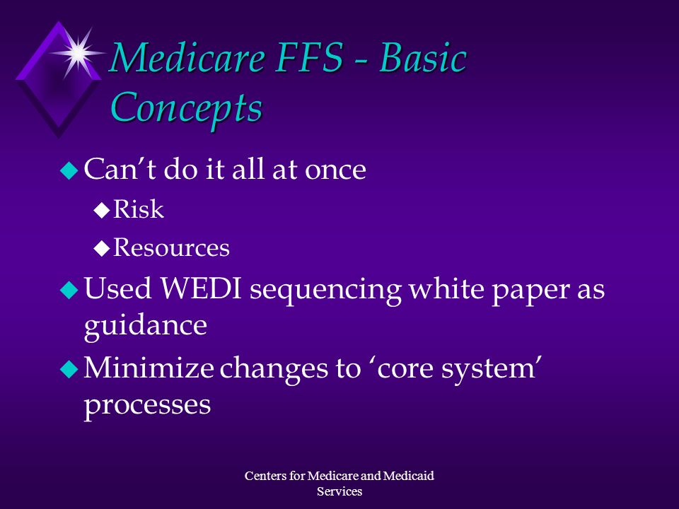 Centers for Medicare and Medicaid Services Medicare FFS - Basic Concepts u Cant do it all at once u Risk u Resources u Used WEDI sequencing white pape