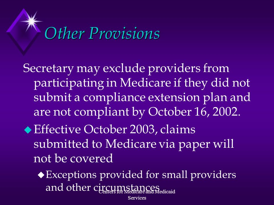 Centers for Medicare and Medicaid Services Compliance Extension Plan u Per ASCA, the plan must include a summary of: u schedule for HIPAA implementation u work plan and budget u implementation strategy u planned use of vendors u time frame for testing (begin NLT 4/03)