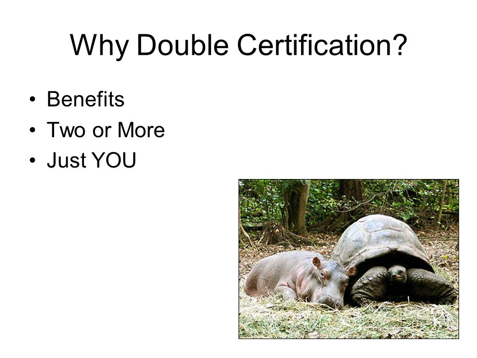 Why Double Certification Benefits Two or More Just YOU