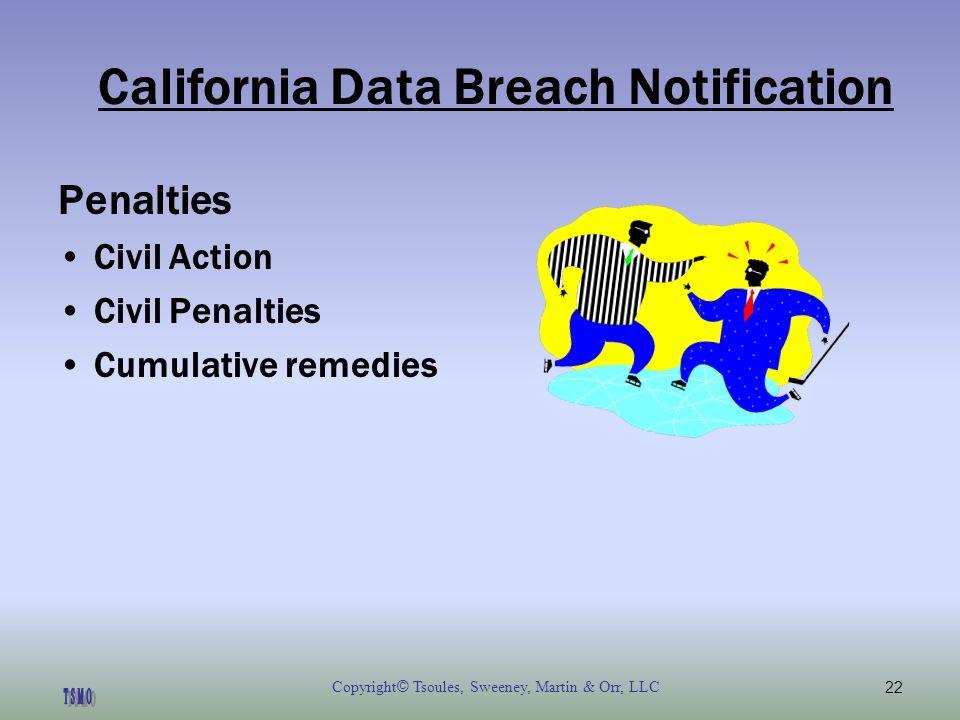 Copyright © Tsoules, Sweeney, Martin & Orr, LLC22 California Data Breach Notification Penalties Civil Action Civil Penalties Cumulative remedies