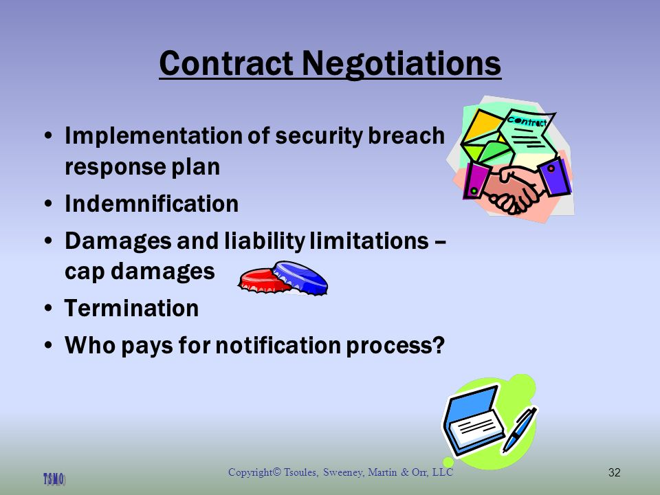 Copyright © Tsoules, Sweeney, Martin & Orr, LLC32 Contract Negotiations Implementation of security breach response plan Indemnification Damages and liability limitations – cap damages Termination Who pays for notification process?