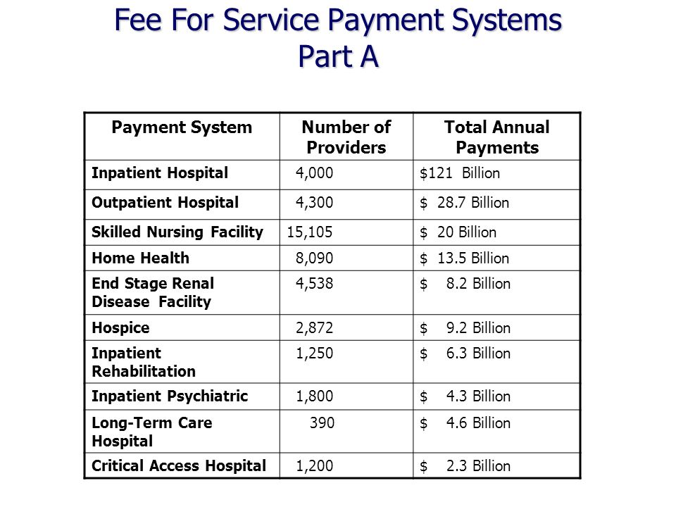 Fee For Service Payment Systems Part A Payment SystemNumber of Providers Total Annual Payments Inpatient Hospital 4,000$121 Billion Outpatient Hospital 4,300$ 28.7 Billion Skilled Nursing Facility15,105$ 20 Billion Home Health 8,090$ 13.5 Billion End Stage Renal Disease Facility 4,538$ 8.2 Billion Hospice 2,872$ 9.2 Billion Inpatient Rehabilitation 1,250$ 6.3 Billion Inpatient Psychiatric 1,800$ 4.3 Billion Long-Term Care Hospital 390$ 4.6 Billion Critical Access Hospital 1,200$ 2.3 Billion