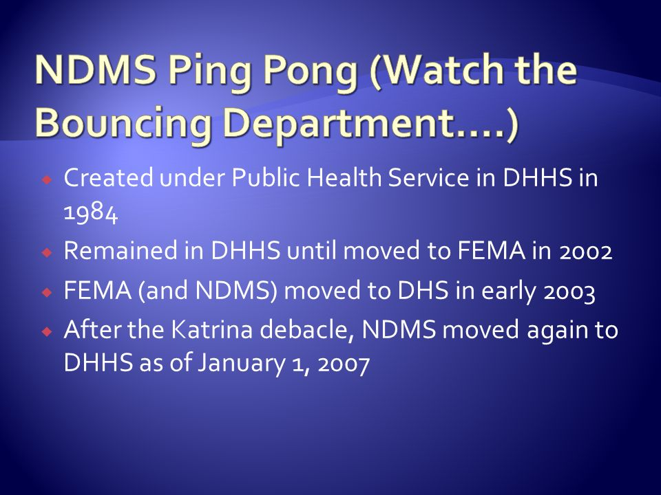 Created under Public Health Service in DHHS in 1984 Remained in DHHS until moved to FEMA in 2002 FEMA (and NDMS) moved to DHS in early 2003 After the