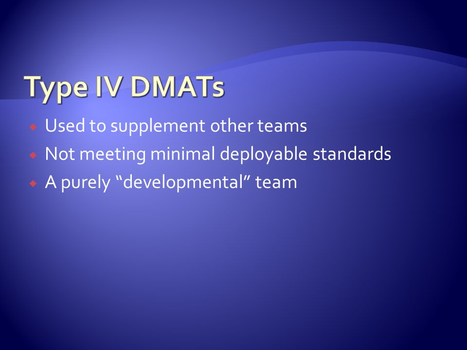 Used to supplement other teams Not meeting minimal deployable standards A purely developmental team