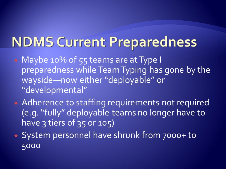 Maybe 10% of 55 teams are at Type I preparedness while Team Typing has gone by the waysidenow either deployable or developmental Adherence to staffing