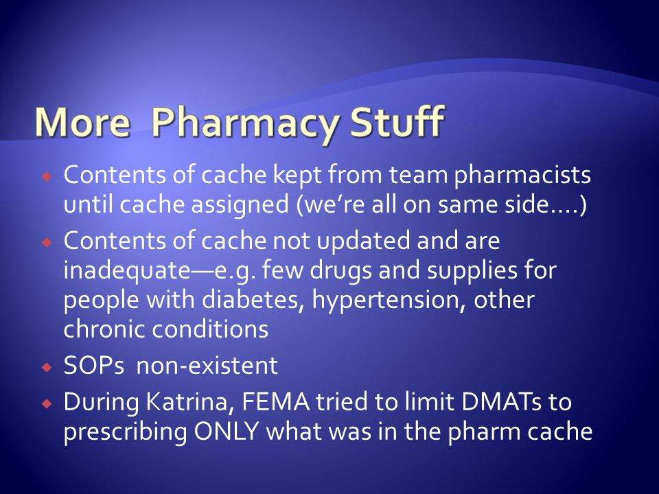 Contents of cache kept from team pharmacists until cache assigned (were all on same side….) Contents of cache not updated and are inadequatee.g. few d
