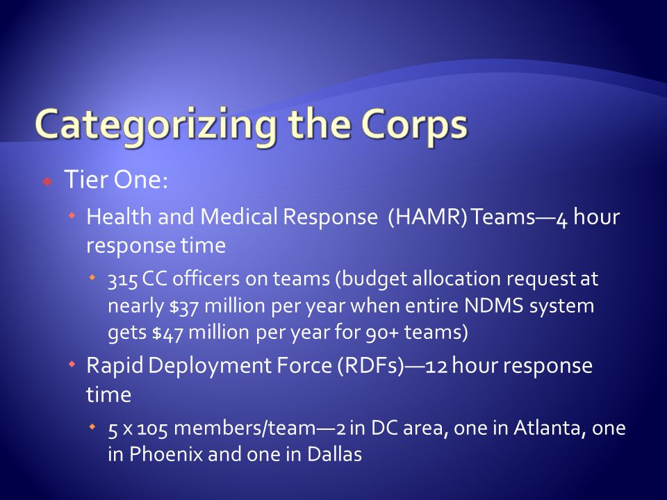 Tier One: Health and Medical Response (HAMR) Teams4 hour response time 315 CC officers on teams (budget allocation request at nearly $37 million per y