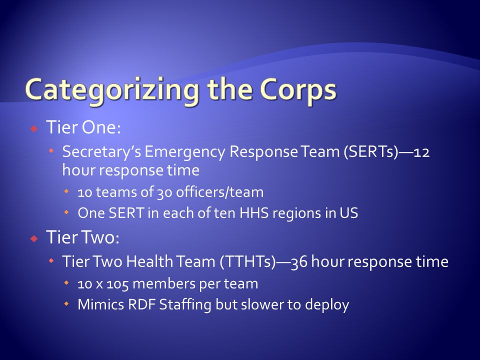 Tier One: Secretarys Emergency Response Team (SERTs)12 hour response time 10 teams of 30 officers/team One SERT in each of ten HHS regions in US Tier