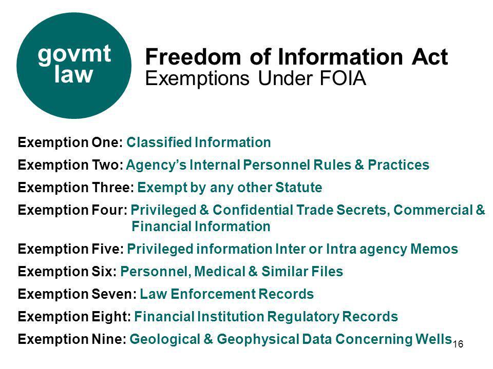 16 Exemption One: Classified Information Exemption Two: Agencys Internal Personnel Rules & Practices Exemption Three: Exempt by any other Statute Exem