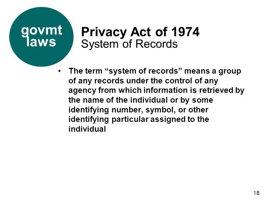 18 The term system of records means a group of any records under the control of any agency from which information is retrieved by the name of the indi