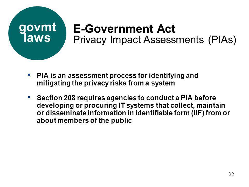 22 PIA is an assessment process for identifying and mitigating the privacy risks from a system Section 208 requires agencies to conduct a PIA before d