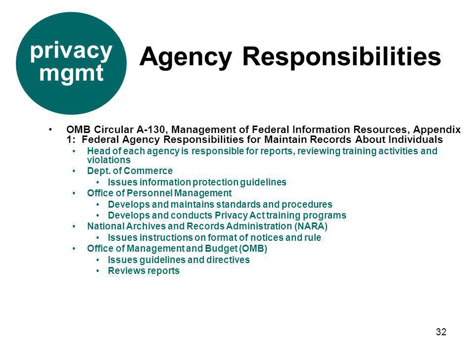 32 OMB Circular A-130, Management of Federal Information Resources, Appendix 1: Federal Agency Responsibilities for Maintain Records About Individuals
