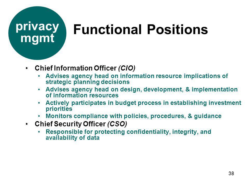 38 Chief Information Officer (CIO) Advises agency head on information resource implications of strategic planning decisions Advises agency head on des