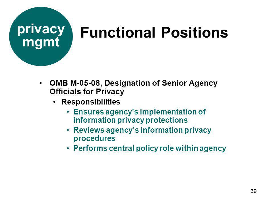 39 OMB M-05-08, Designation of Senior Agency Officials for Privacy Responsibilities Ensures agencys implementation of information privacy protections