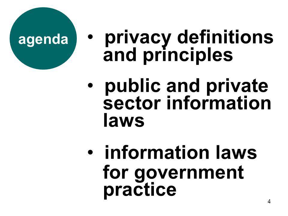 4 agenda privacy definitions and principles public and private sector information laws information laws for government practice