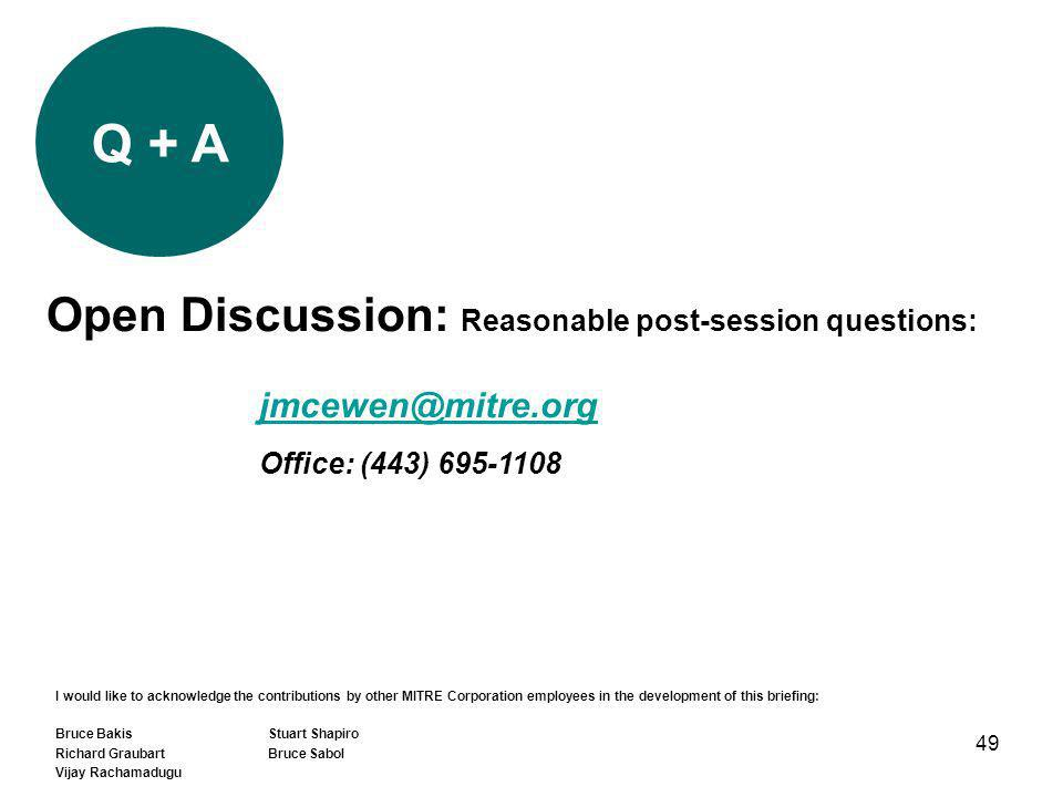49 Q + A Open Discussion: Reasonable post-session questions: jmcewen@mitre.org Office: (443) 695-1108 I would like to acknowledge the contributions by