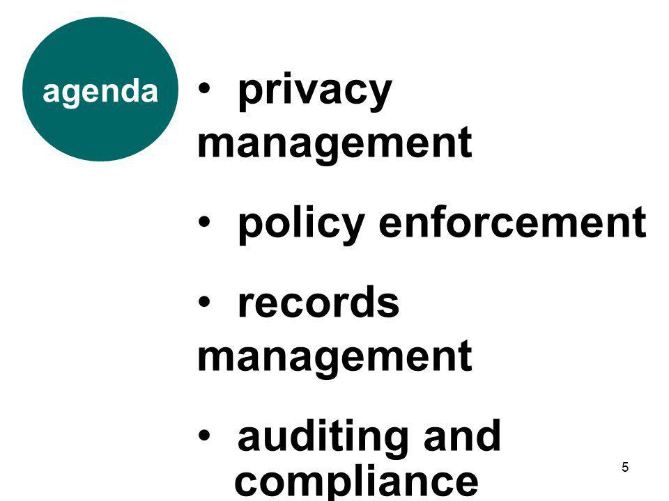5 agenda privacy management policy enforcement records management auditing and compliance
