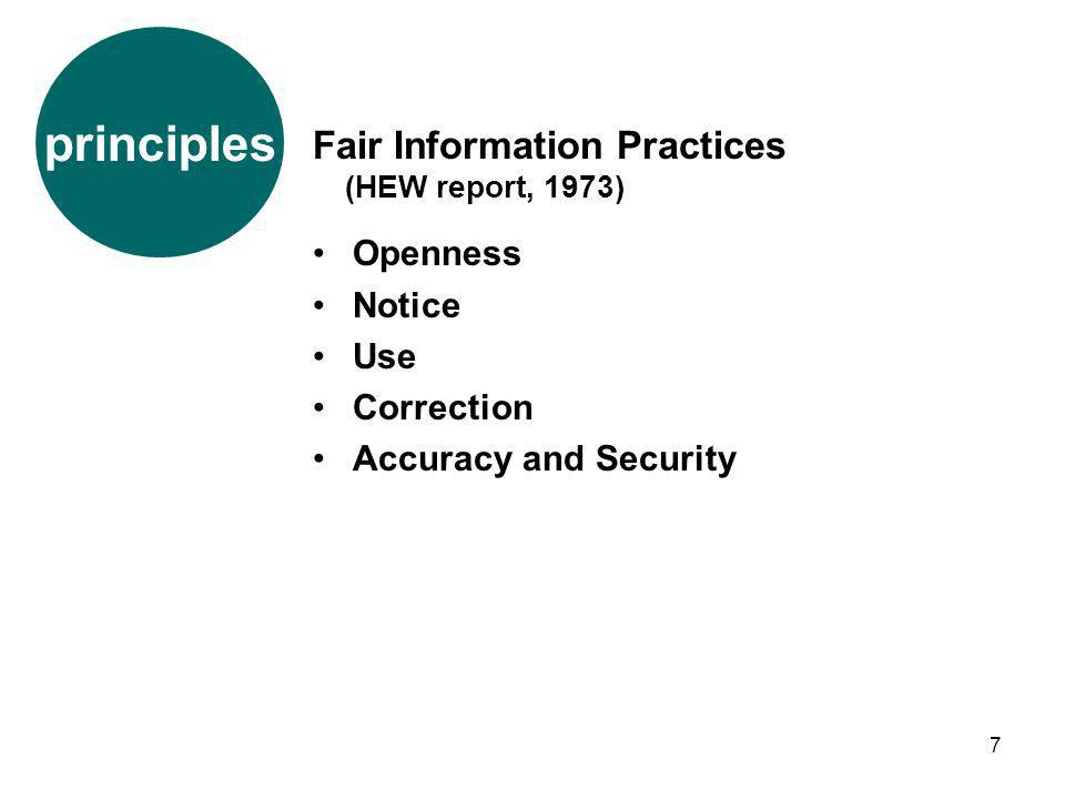 7 Fair Information Practices (HEW report, 1973) Openness Notice Use Correction Accuracy and Security principles