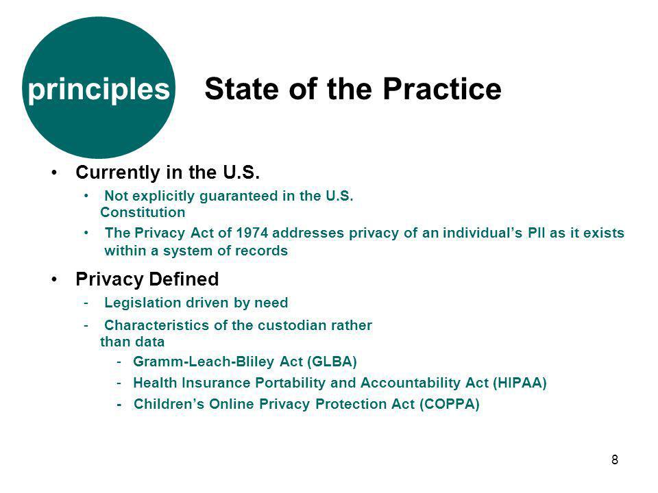 8 Currently in the U.S. Not explicitly guaranteed in the U.S. Constitution The Privacy Act of 1974 addresses privacy of an individuals PII as it exist