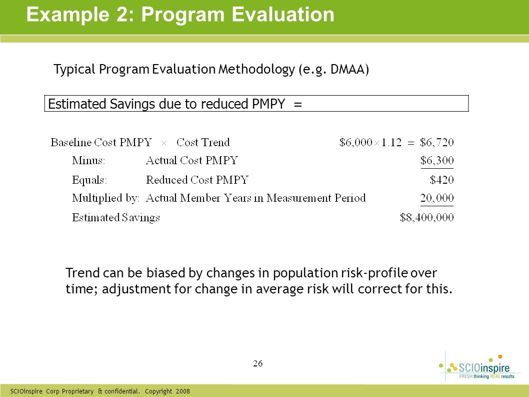 SCIOinspire Corp Proprietary & confidential. Copyright 2008 26 Example 2: Program Evaluation Estimated Savings due to reduced PMPY = Typical Program E