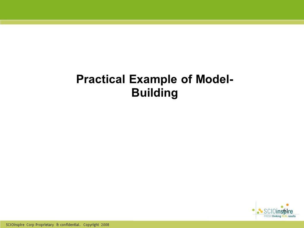 SCIOinspire Corp Proprietary & confidential. Copyright 2008 61 Practical Example of Model- Building