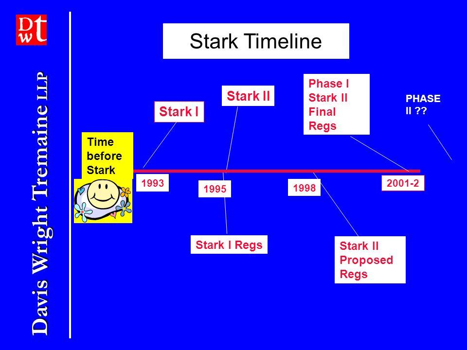 Davis Wright Tremaine LLP Stark I 1993 Stark I Regs 1995 Stark II 1998 Stark II Proposed Regs Stark Timeline Time before Stark 2001-2 Phase I Stark II Final Regs PHASE II ??