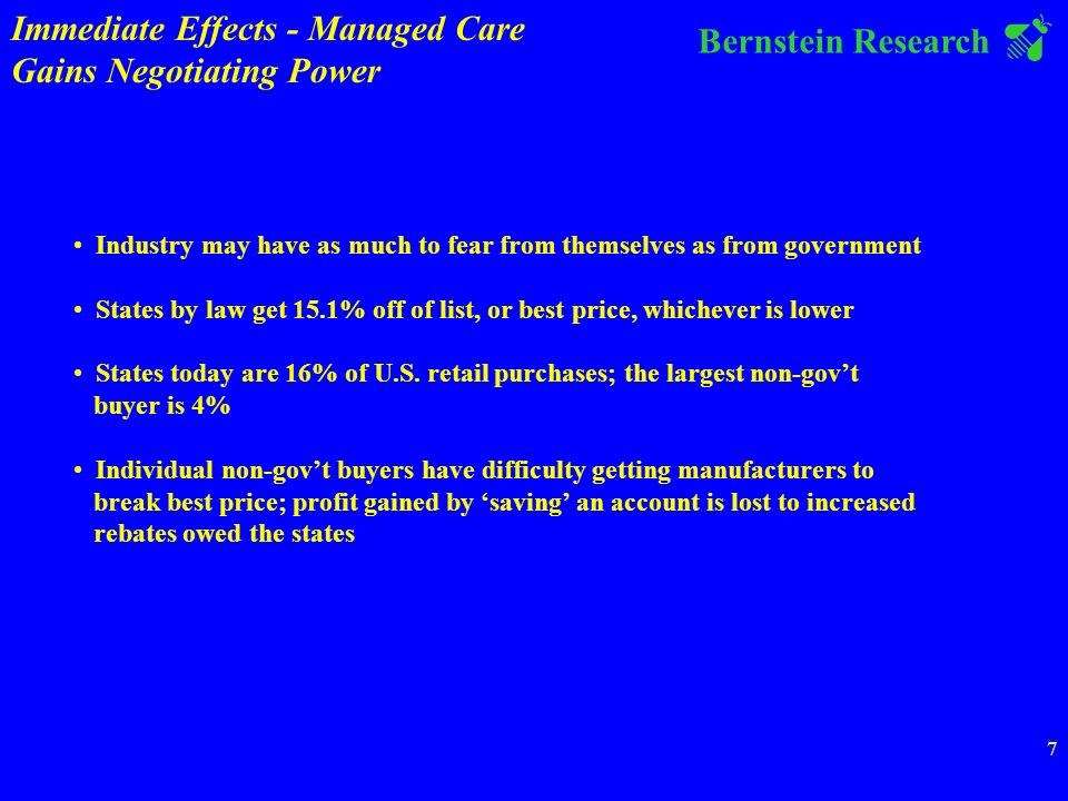 Bernstein Research 7 Industry may have as much to fear from themselves as from government States by law get 15.1% off of list, or best price, whichever is lower States today are 16% of U.S.