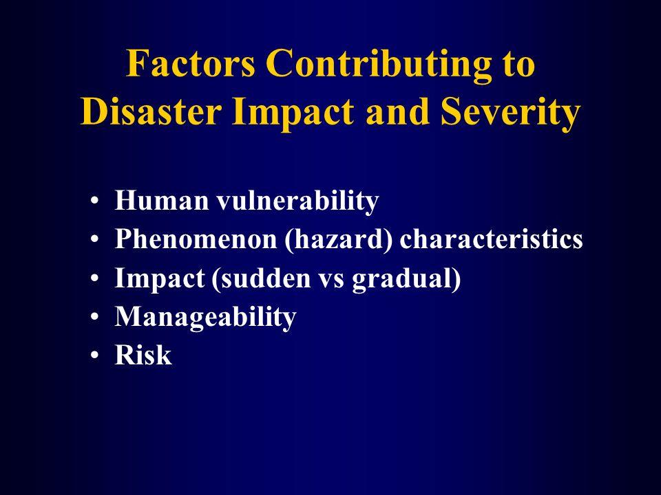 Factors Contributing to Disaster Impact and Severity Human vulnerability Phenomenon (hazard) characteristics Impact (sudden vs gradual) Manageability
