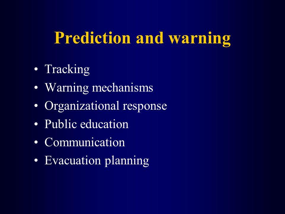 Prediction and warning Tracking Warning mechanisms Organizational response Public education Communication Evacuation planning