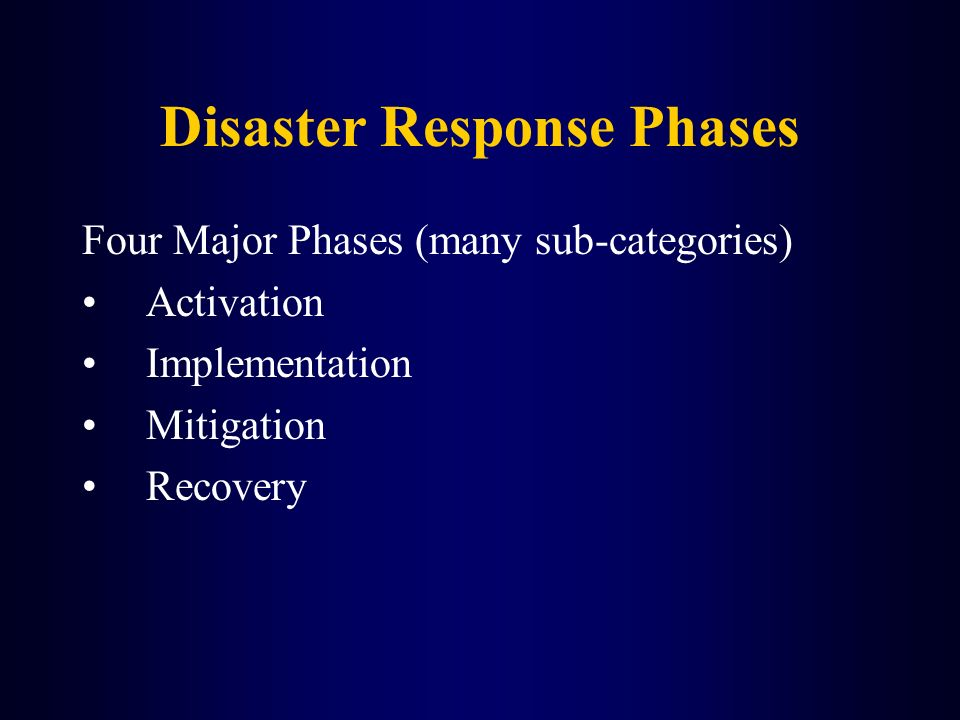 Disaster Response Phases Four Major Phases (many sub-categories) Activation Implementation Mitigation Recovery