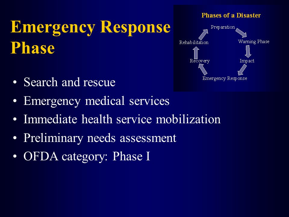 Emergency Response Phase Search and rescue Emergency medical services Immediate health service mobilization Preliminary needs assessment OFDA category