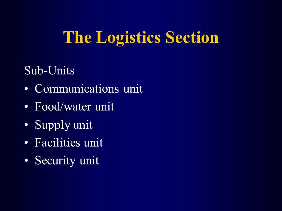 The Logistics Section Sub-Units Communications unit Food/water unit Supply unit Facilities unit Security unit