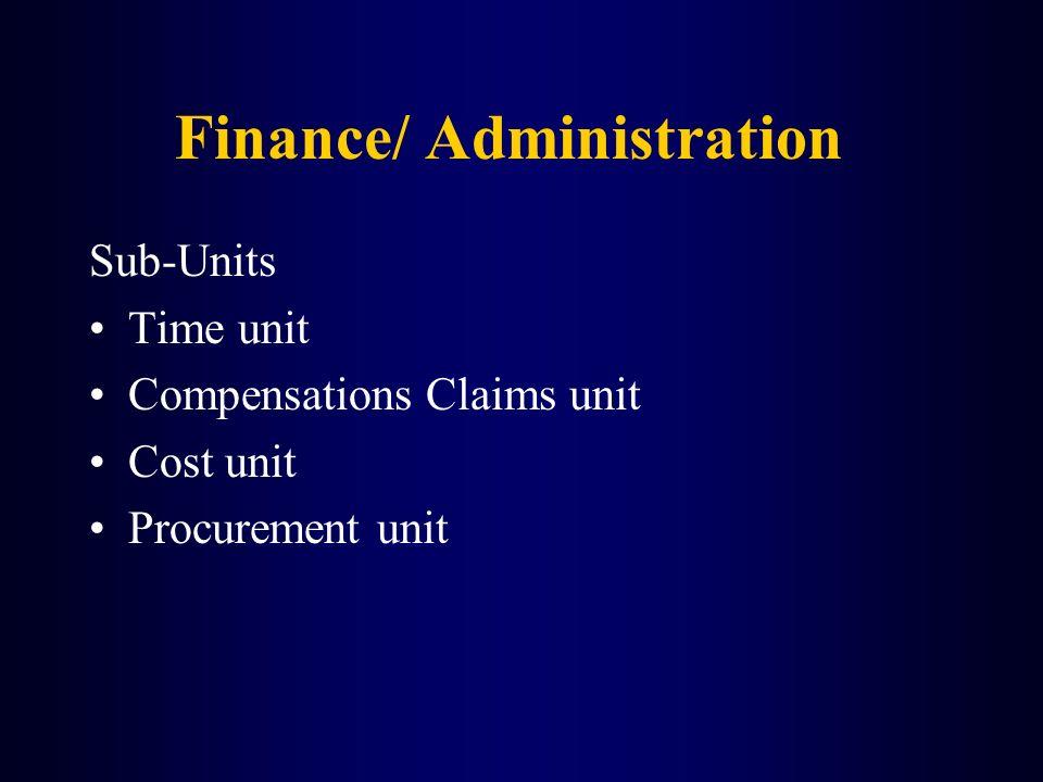 Finance/ Administration Sub-Units Time unit Compensations Claims unit Cost unit Procurement unit