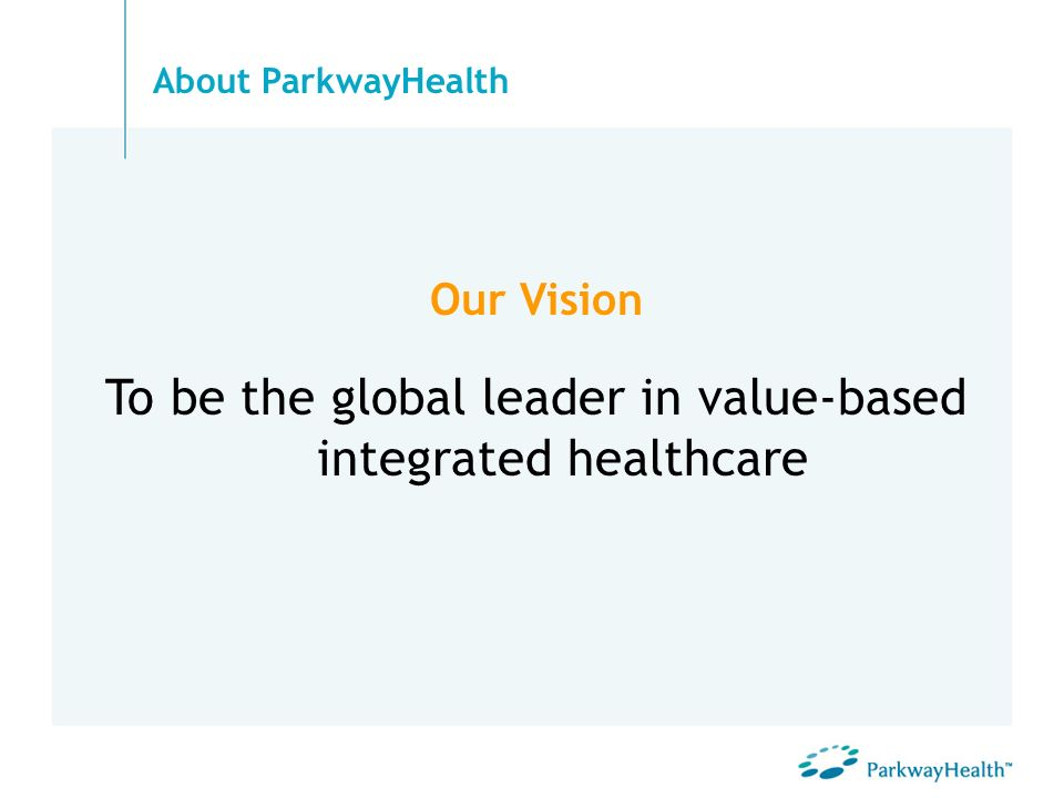 Our Vision To be the global leader in value-based integrated healthcare About ParkwayHealth